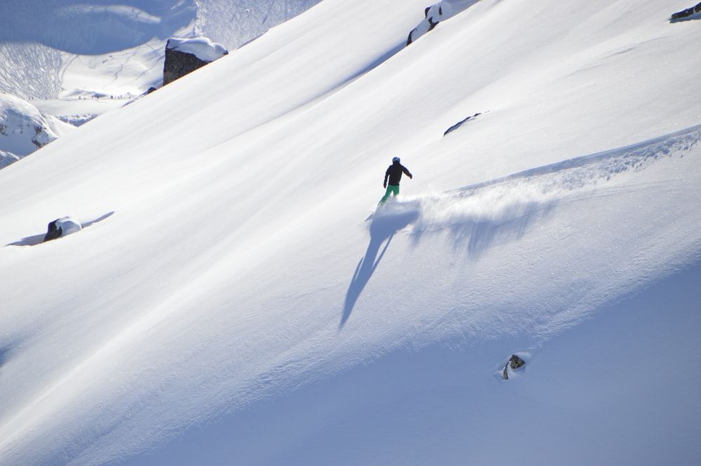 aerial photography of person snowboarding