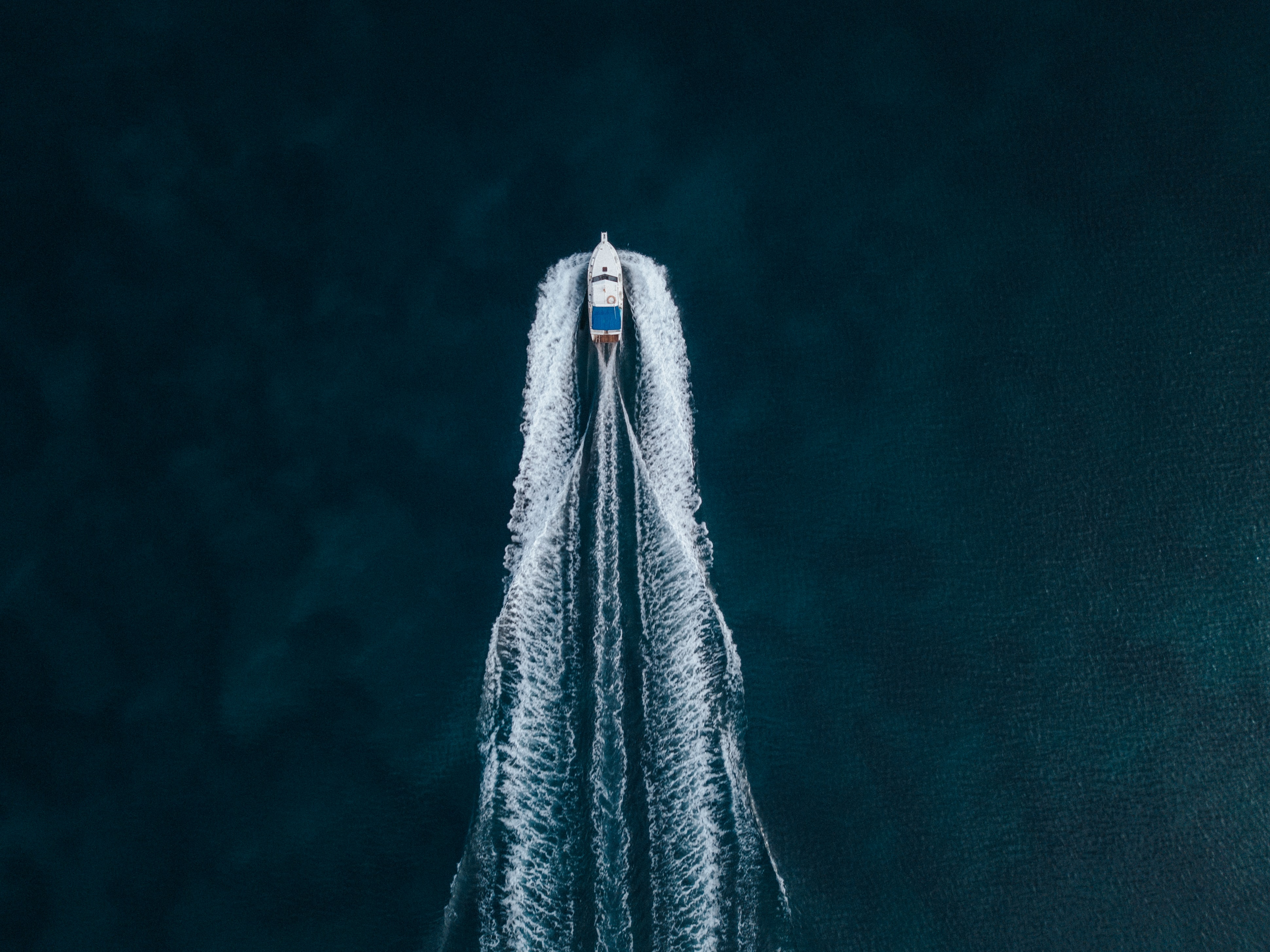 aerial photography of speed boat on blue sea