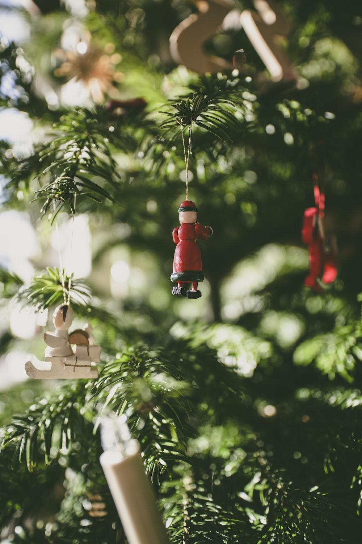 selective photo of Christmas tree hanging decors