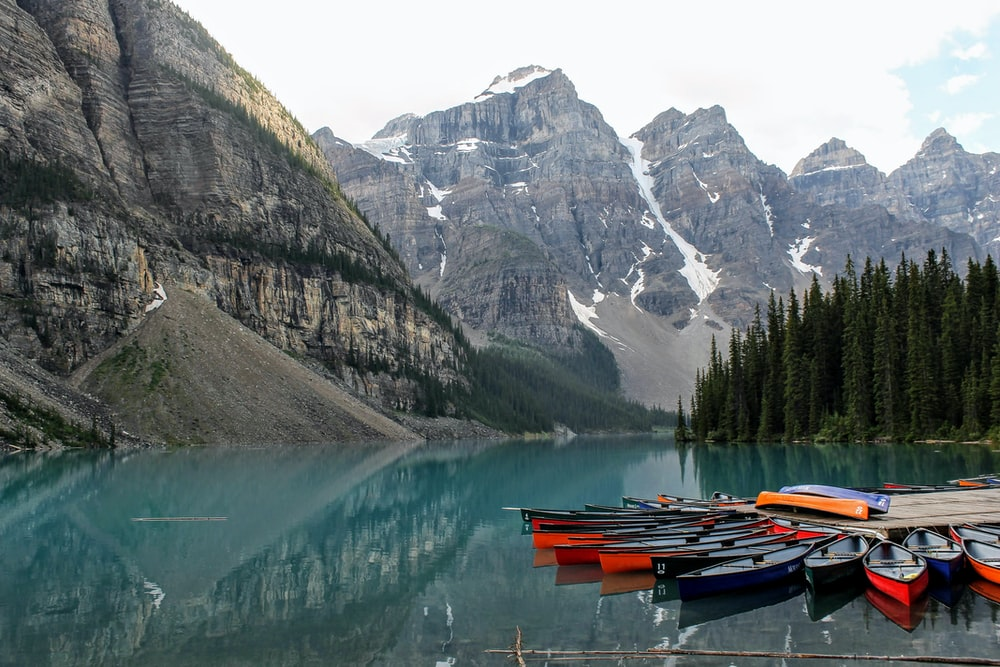 assorted-colored canoe boats