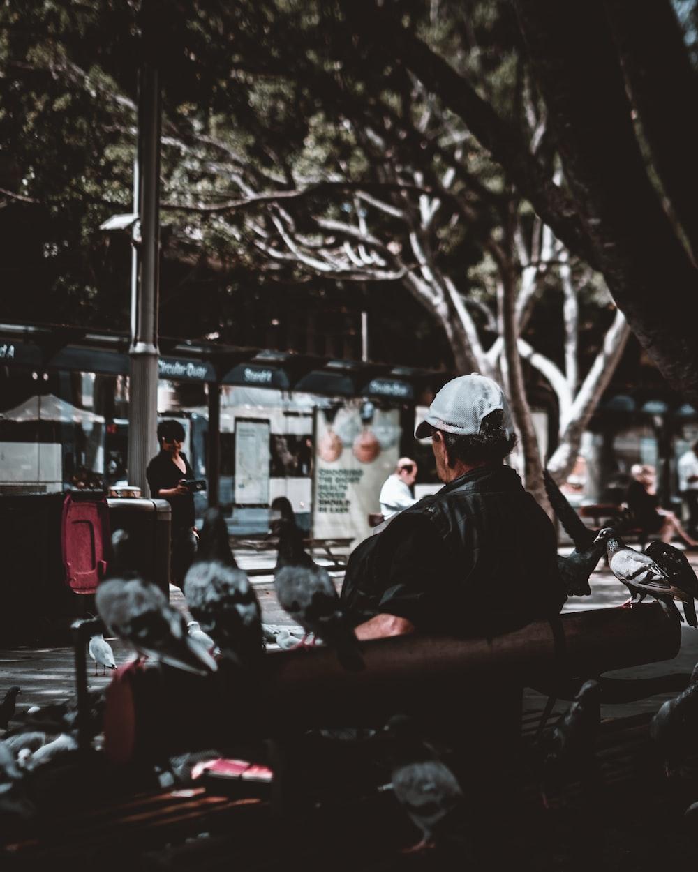 man sitting on bench near people