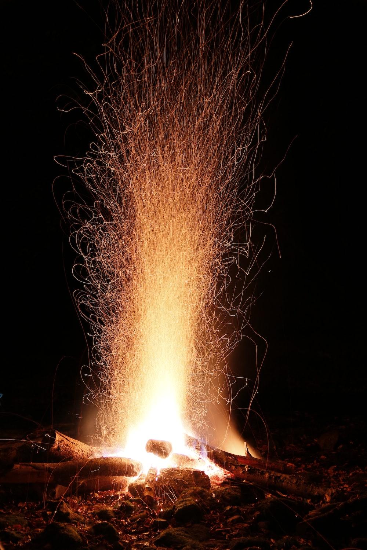 orange flame from bonfire