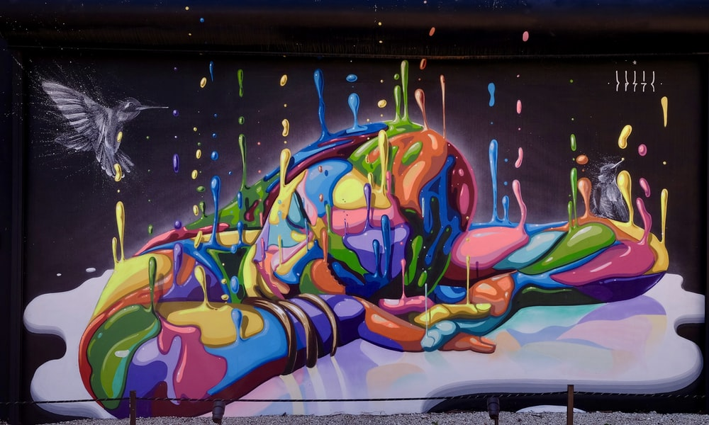 woman sleeping multicolored painting
