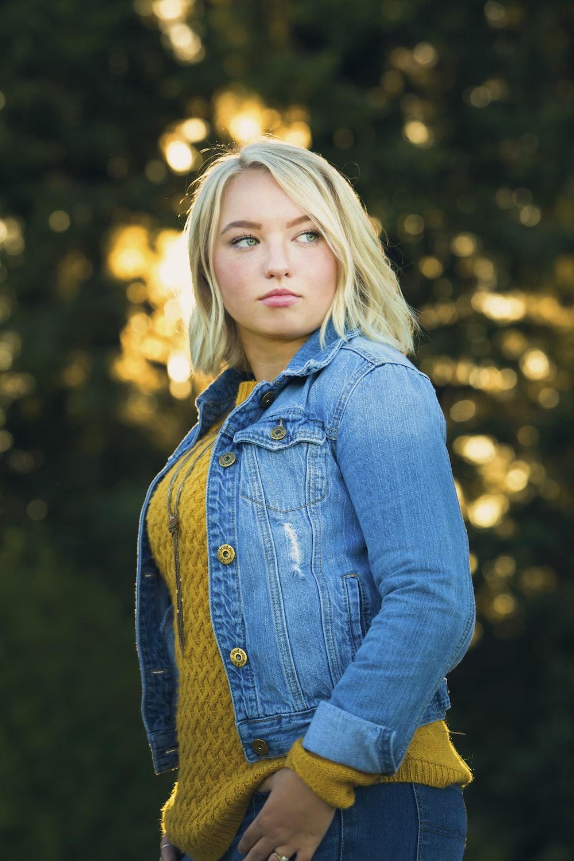 blonde woman in blue denim jacket