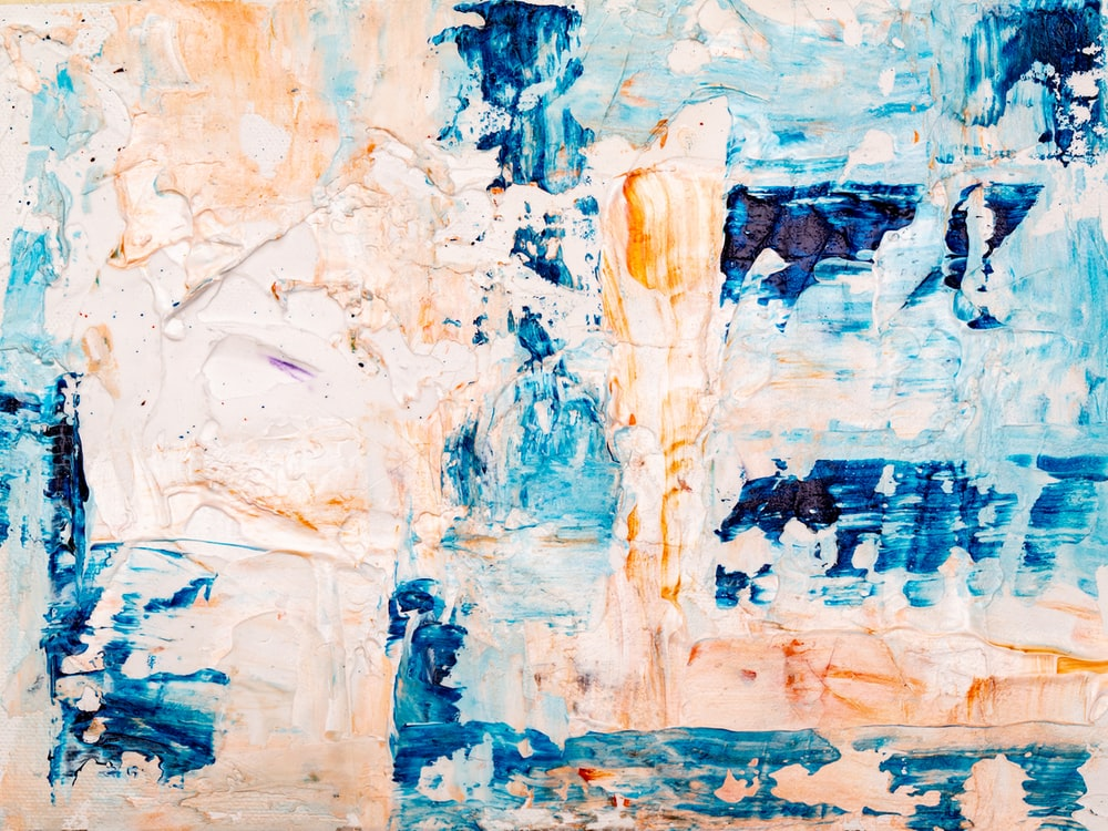 blue and beige abstract painting