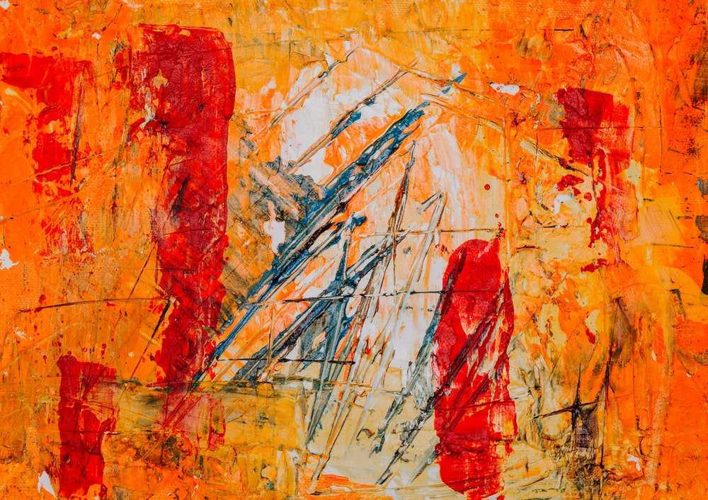 orange and red abstract painting
