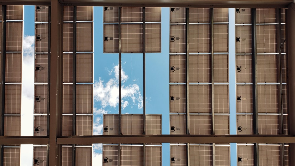 bottom view of solar panels during daytime