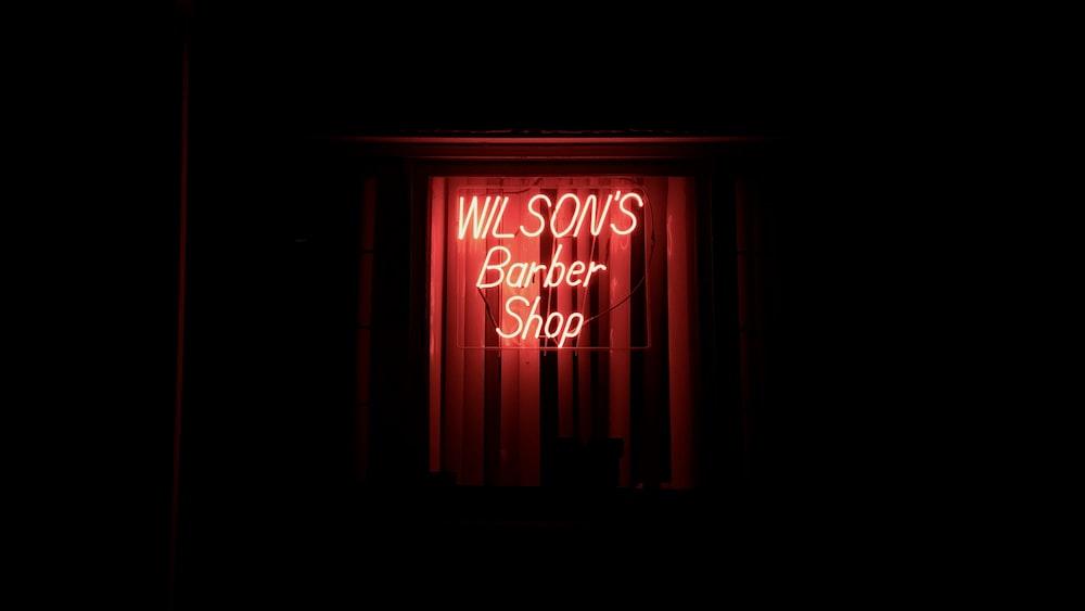 Wilson's barber shop lighted signage