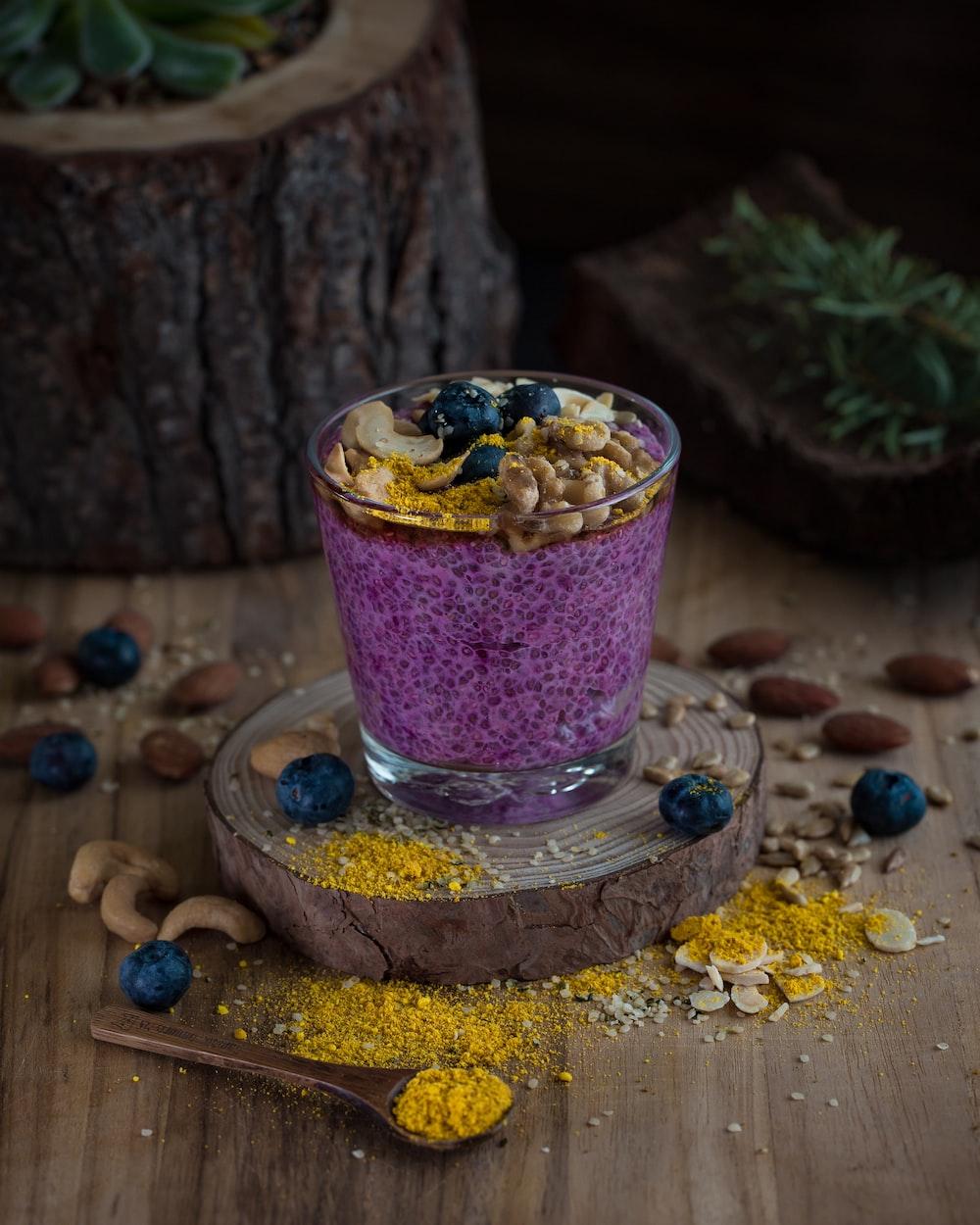dessert served on drinking glass