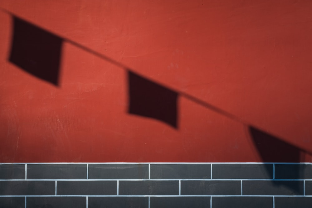shadow of buntings on red surface