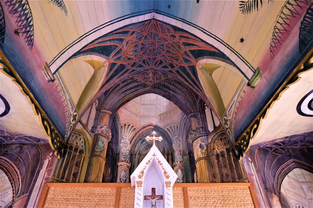 multicolored church interior