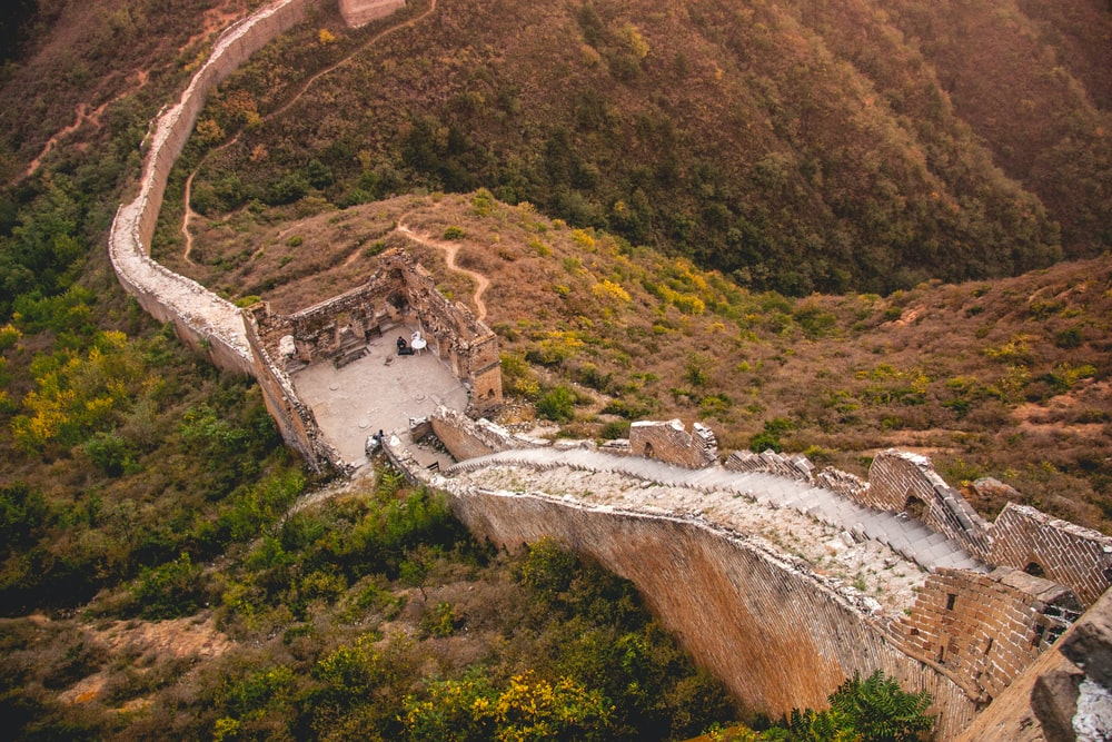 bird's eye view photography of Great Wall of China