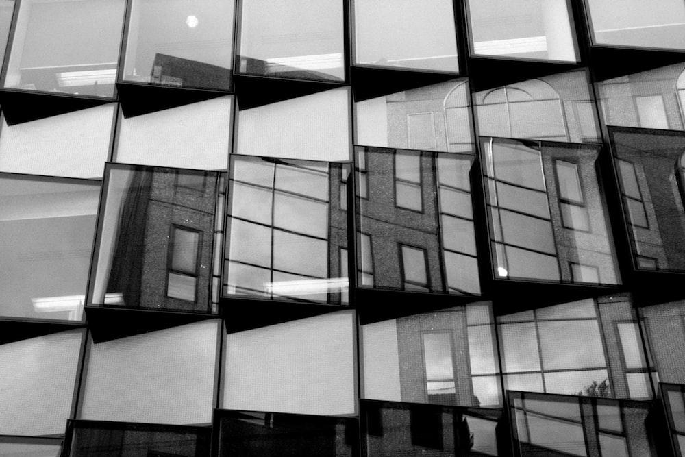 grayscale photo of window