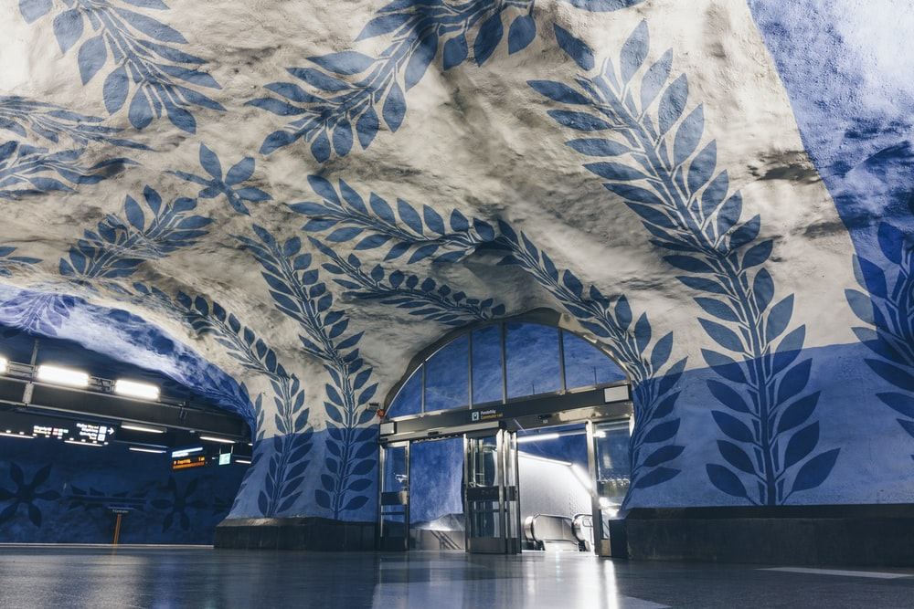 blue and white floral building inside view