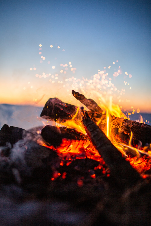 lit bonfire in closeup photography