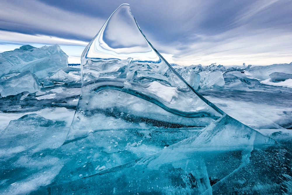 close-up photography of ice