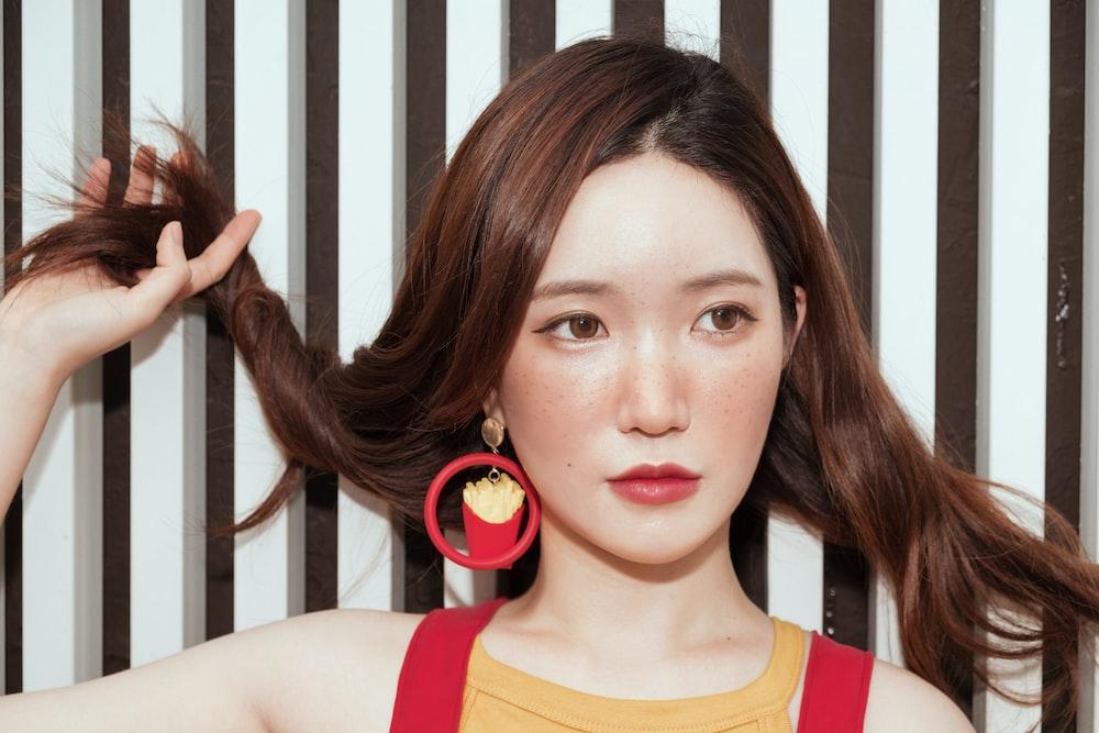 women's red hoop earring