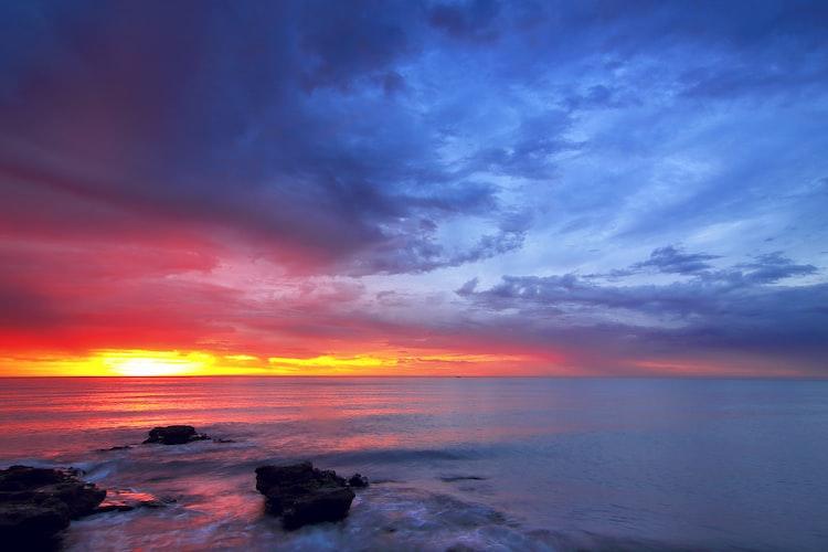 Sunset view of Malagueta beach in Málaga