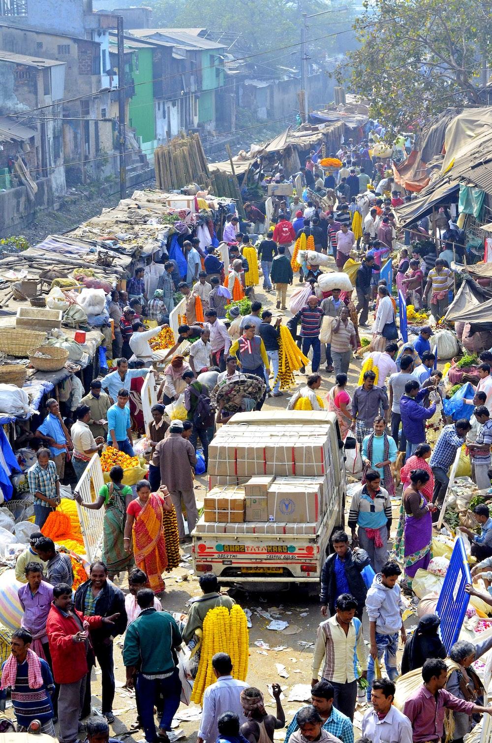 people walking during daytime market in india