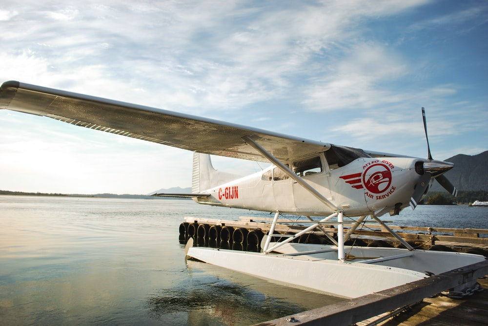white and red plane near body of water