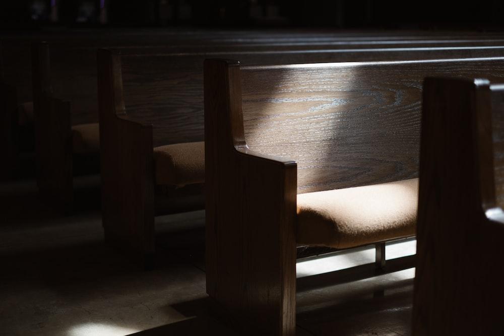 brown wooden church chair