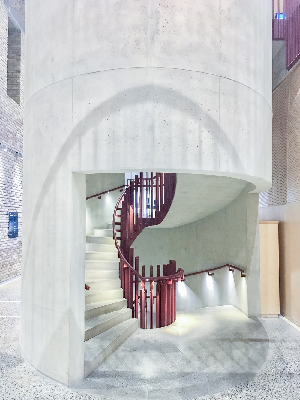 empty spiral stairs inside building
