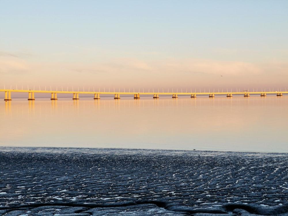 yellow bridge viewing calm sea