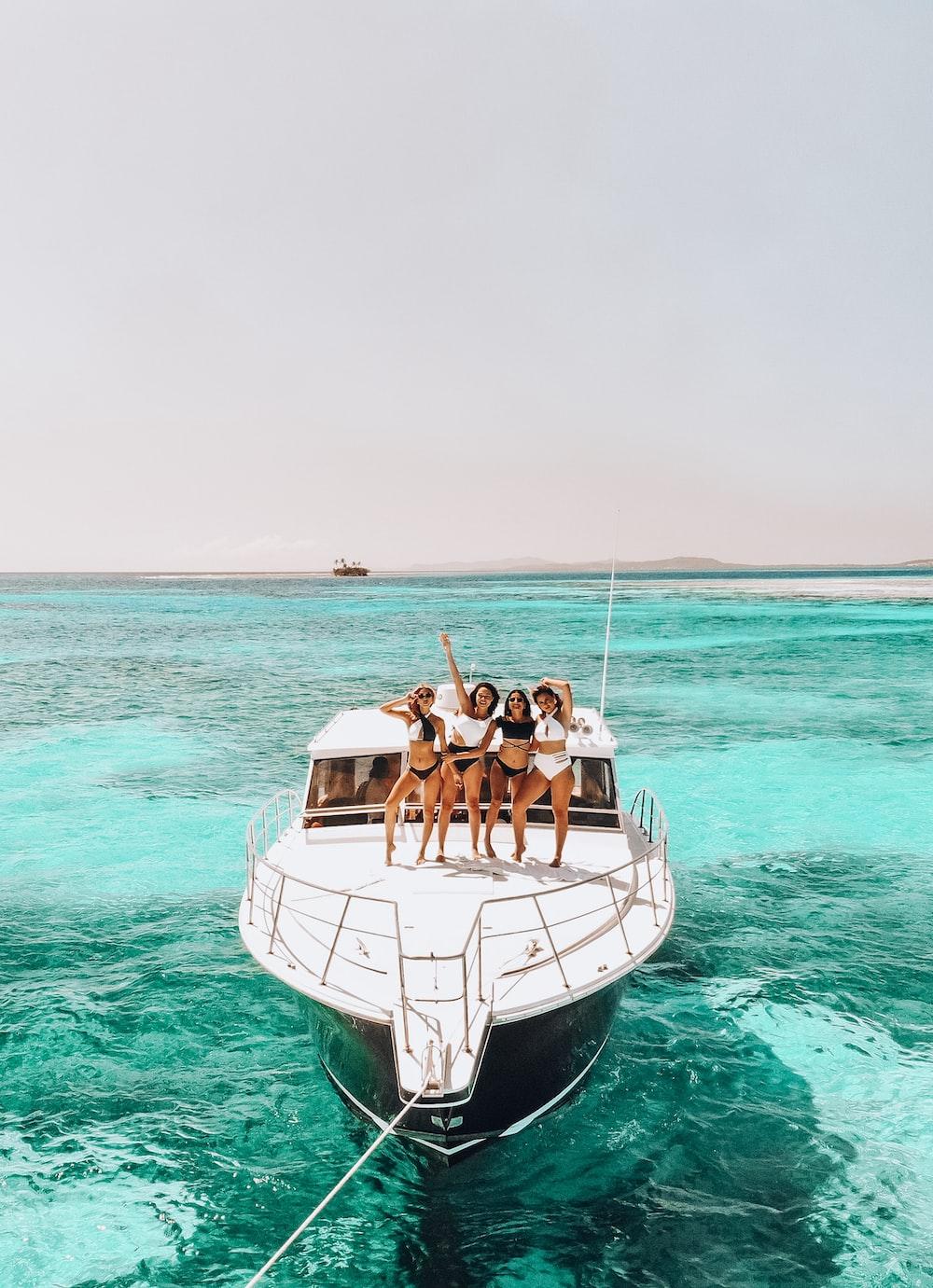 four girls in yacht
