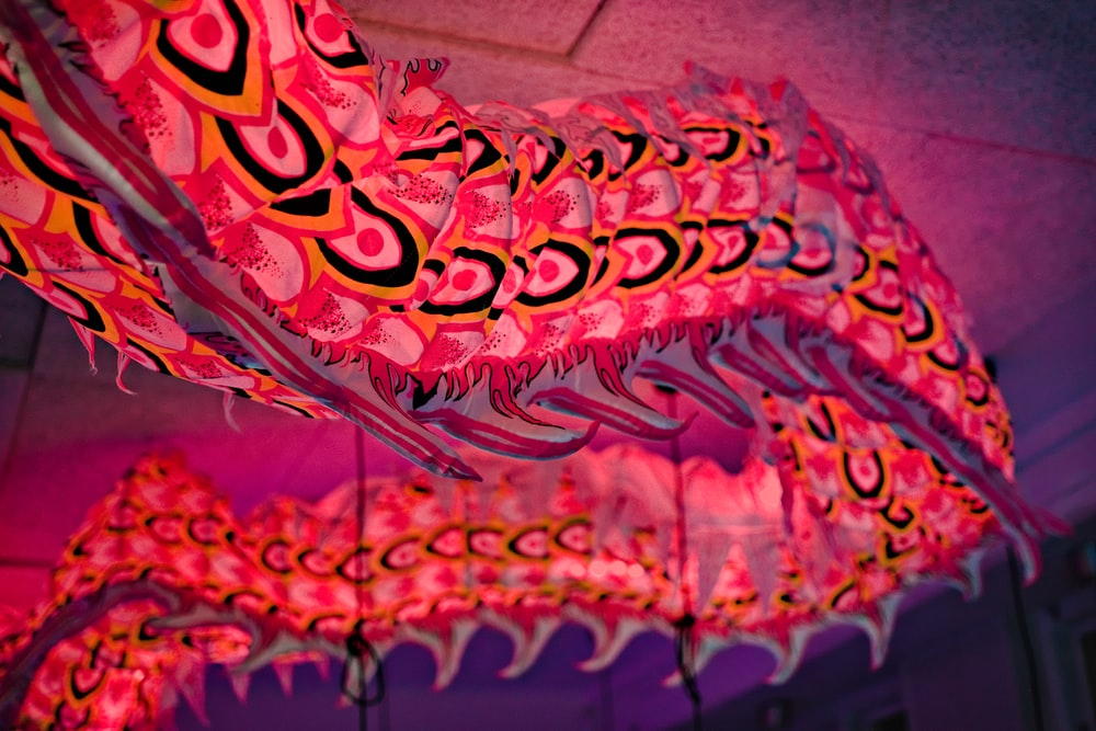 red and pink dragon hanging decor