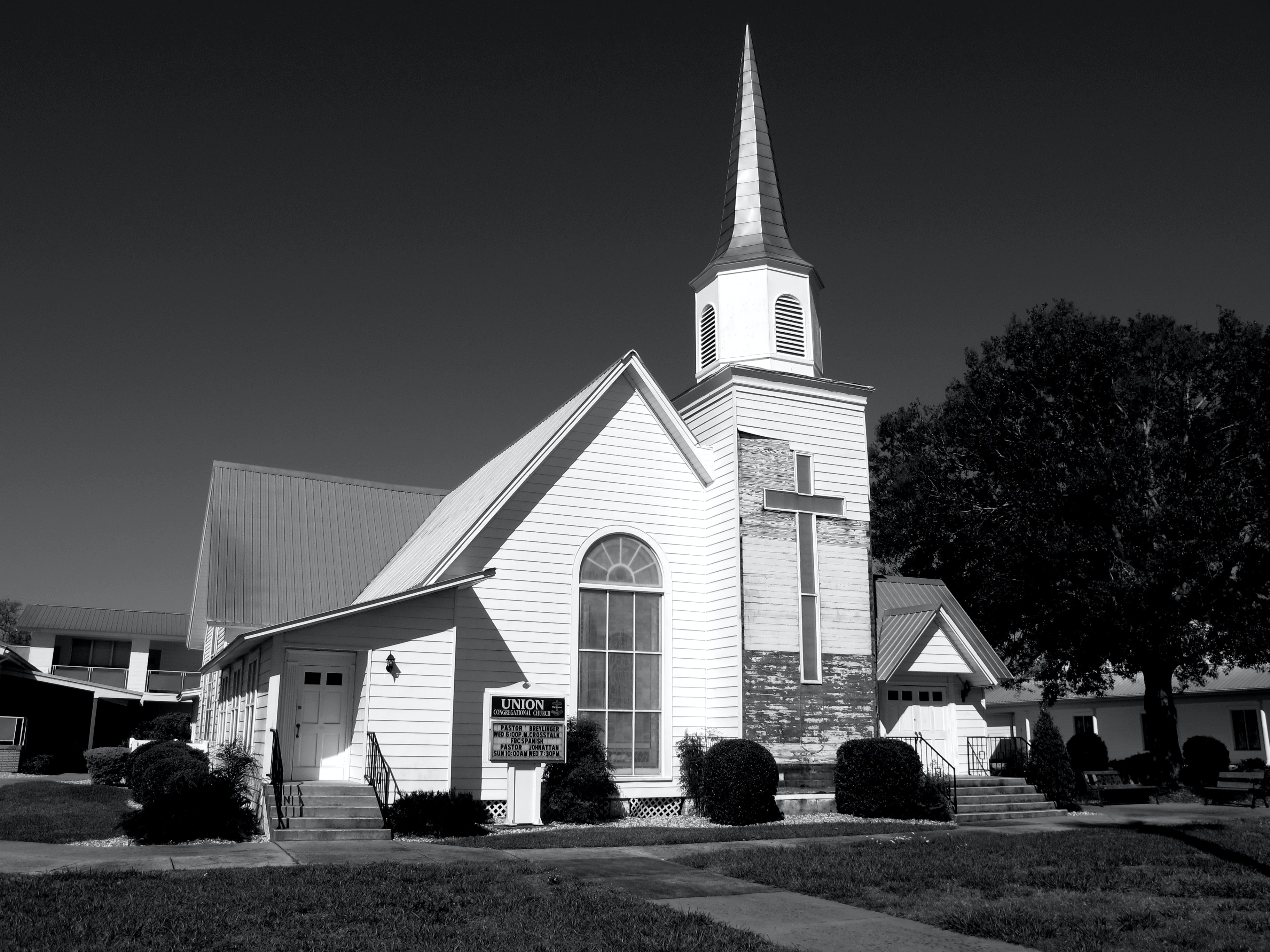 grayscale photography of parish