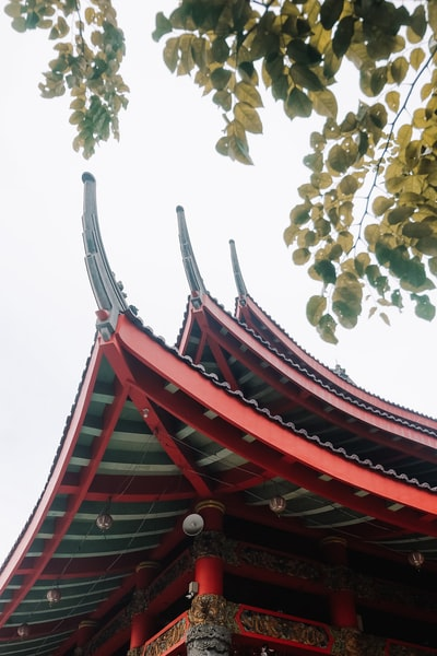 low angle photo of red temple