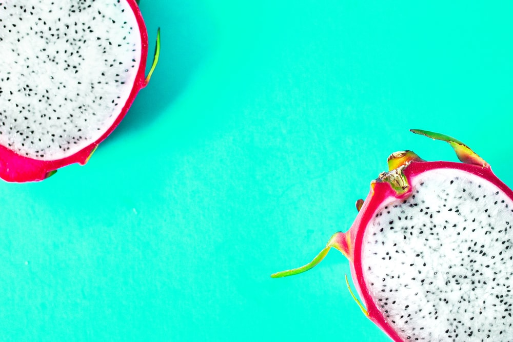 halved red dragonfruit