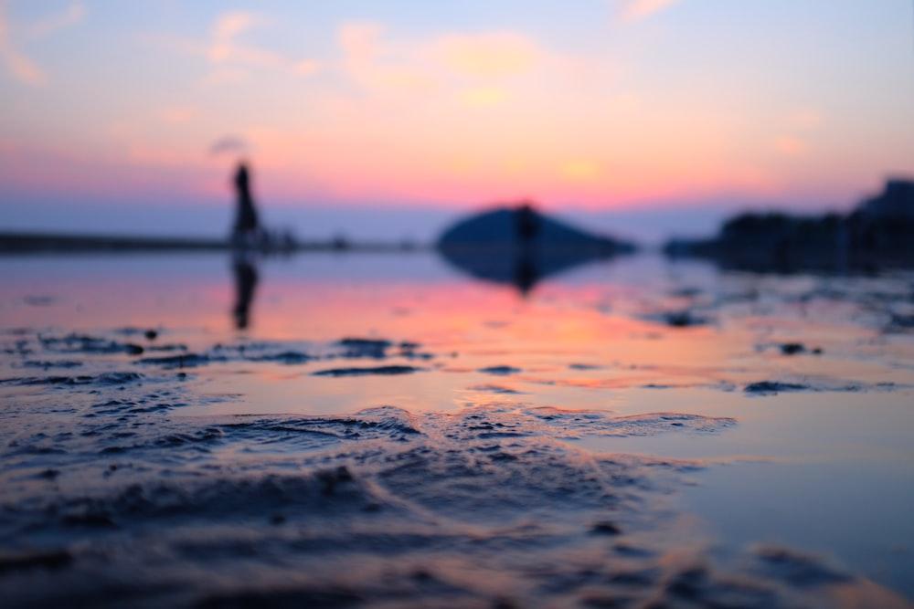 seashore with orange sky
