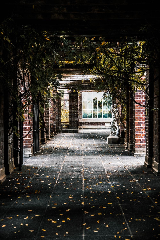 brown brick hallway