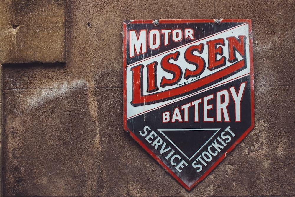 Motor Lissen Battery Service Stockist sign