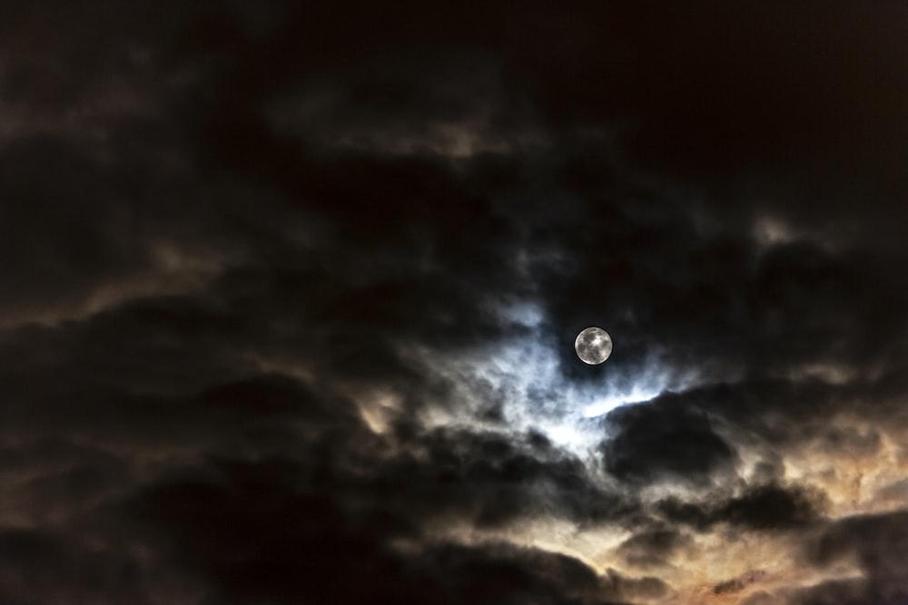 moon behind clouds at night