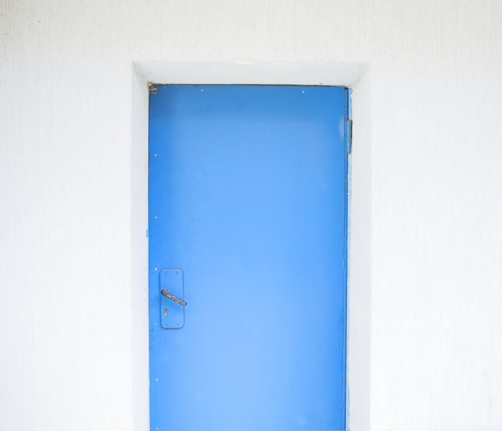 closed blue painted door