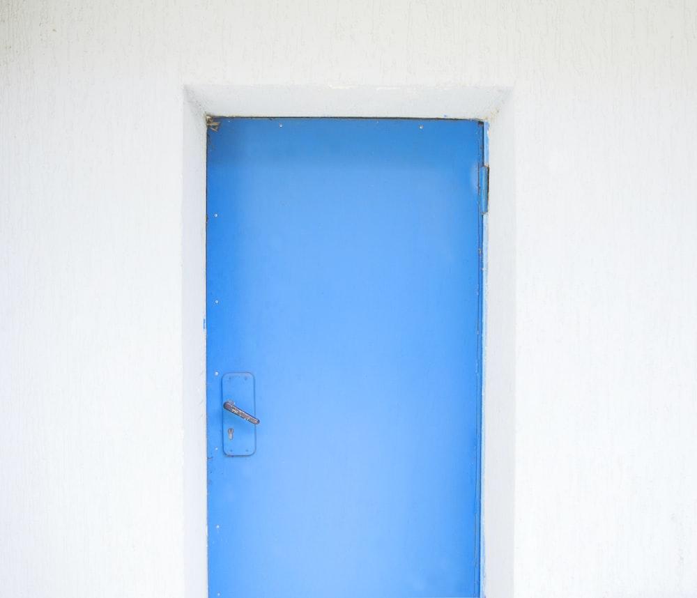 closed blue painted door