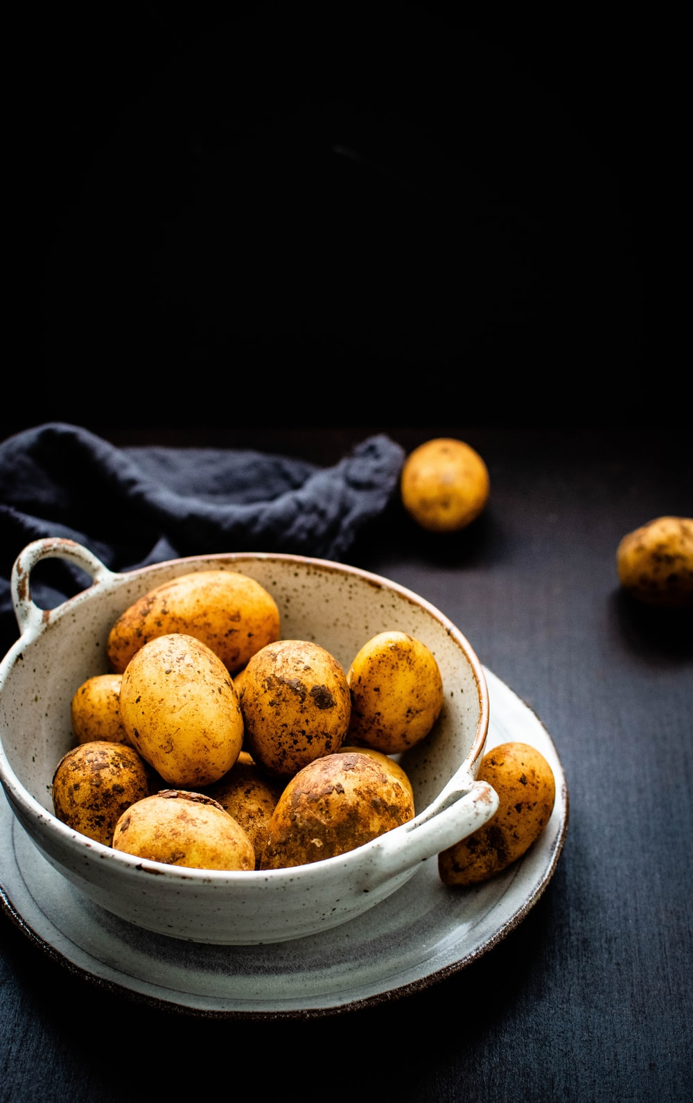 potatoes in brown on table