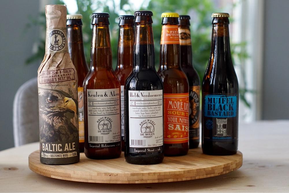 assorted bottles on table inside room