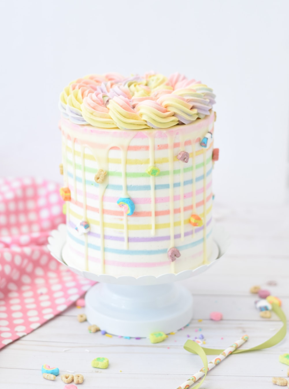 rainbow covered cake