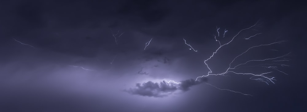 panoramic photo of clouds and thunder