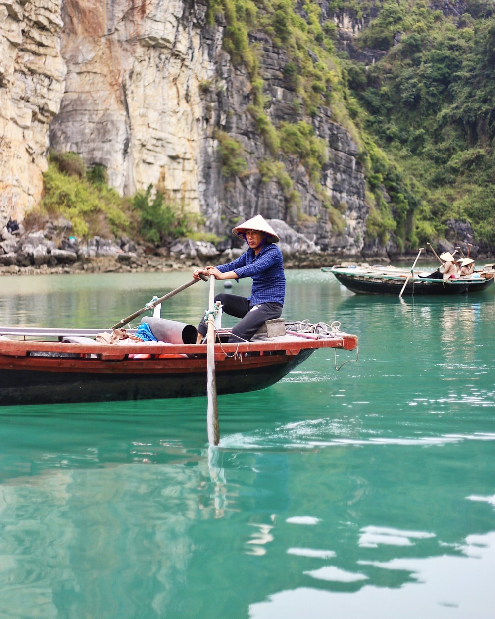 man riding boat