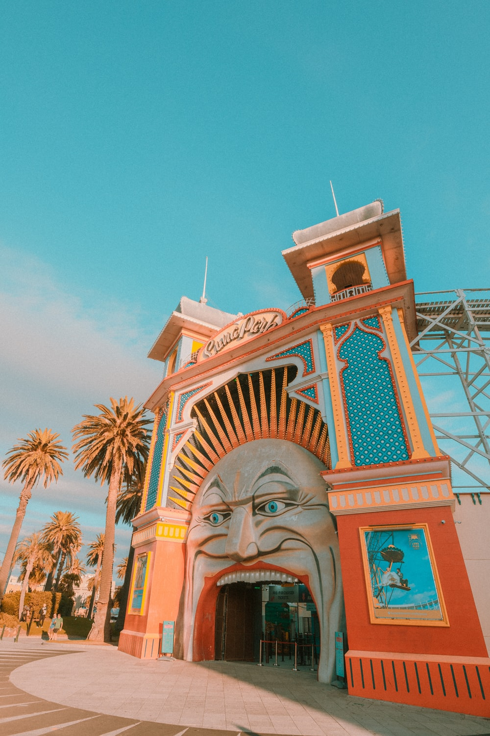 white and multicolored face painted building entrance