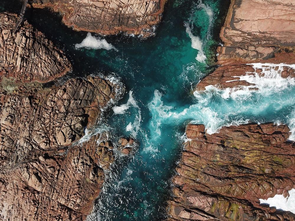 aerial view of waterfalls