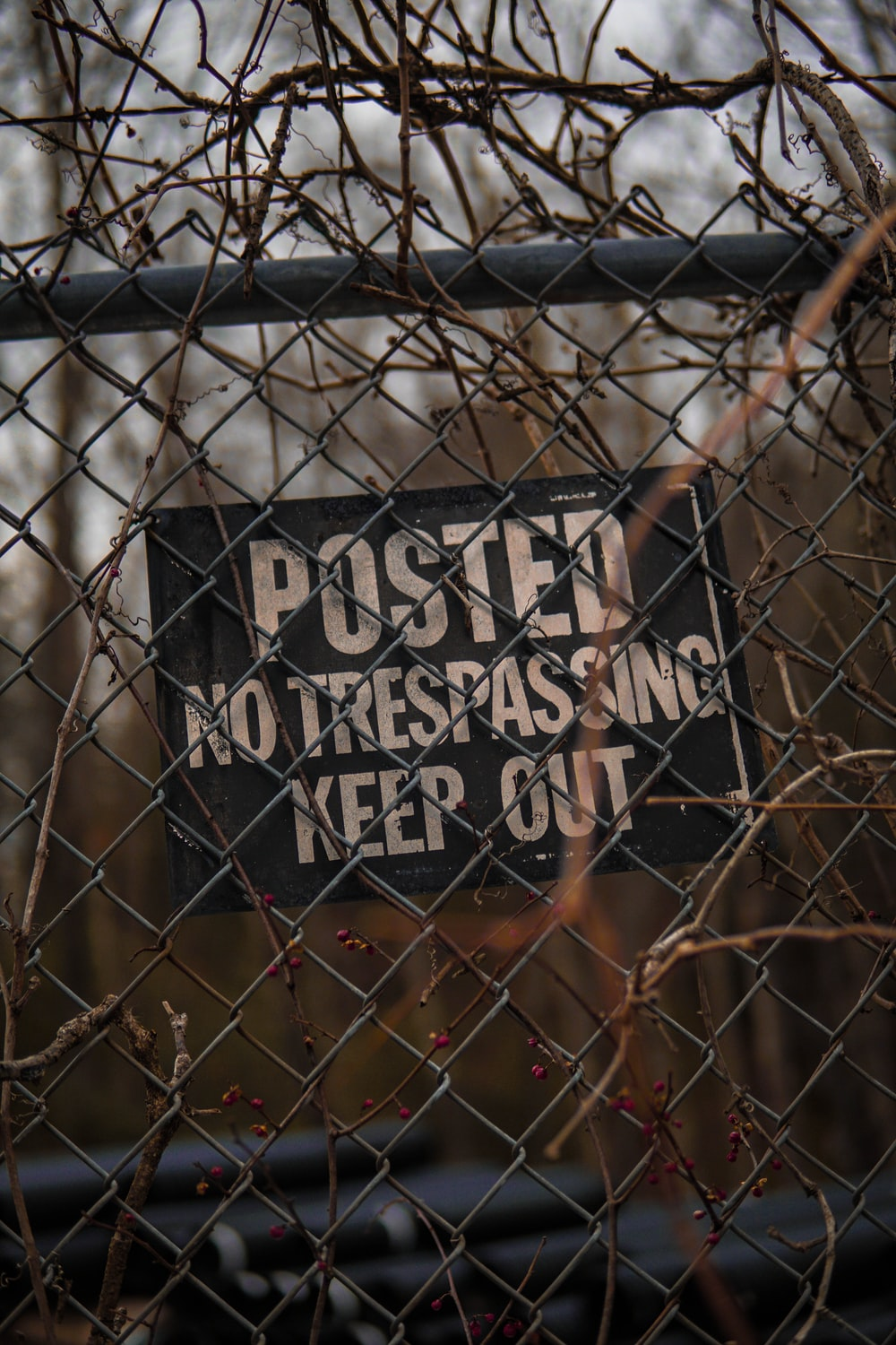 Posted No Trespassing Keep Out signage