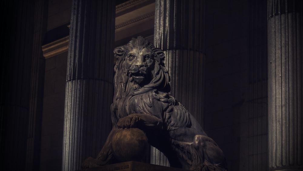 brown lion statue