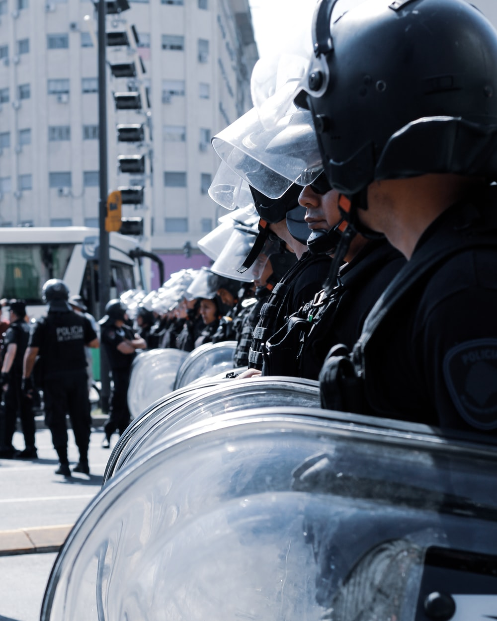 police guarding the street