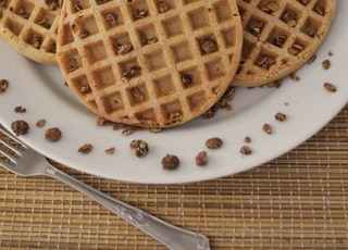 Belgian waffle topped with crushed nuts