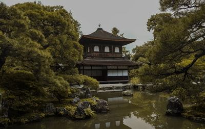 castle surrounded with waters zen garden zoom background
